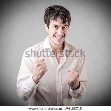 happy young guy - stock photo