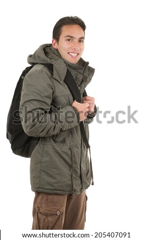 happy young guy wearing jacket and a backpack isolated on white - stock photo