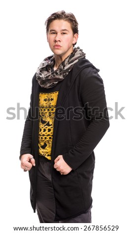 Happy young handsome man on a white background - stock photo