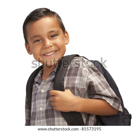 Happy Young Hispanic Boy with Backpack Ready for School Isolated on a White Background. - stock photo