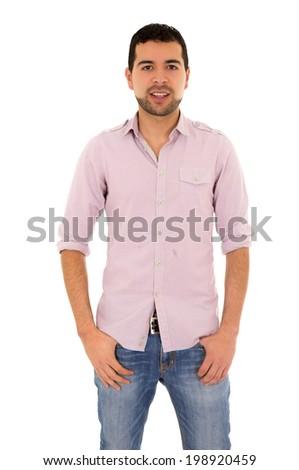 happy young hispanic man - stock photo