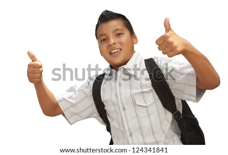 Happy Young Hispanic School Boy with Thumbs Up Isolated on a White Background. - stock photo