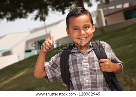 Happy Young Hispanic School Boy with Thumbs Up one Morning. - stock photo