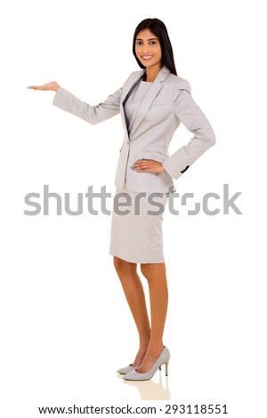 happy young indian businesswoman welcome gesture on white background - stock photo