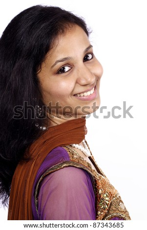 Happy young Indian woman - stock photo
