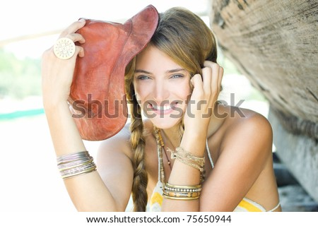 Happy young lady - stock photo
