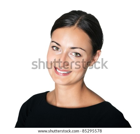 Happy young lady looking at you with a smile - stock photo