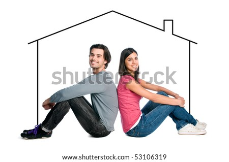 Happy young latin couple dreaming about their new home isolated on white background - stock photo