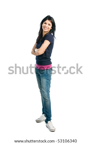 Happy young latin woman standing full length isolated on white background - stock photo