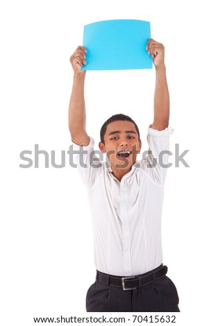 happy young latino man, raised arms with blue card in hand, isolated on white background. Studio shot. - stock photo