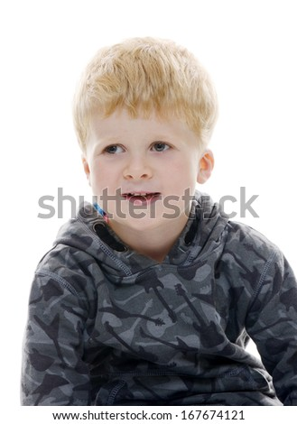 Happy young male student in front of isolated background - stock photo