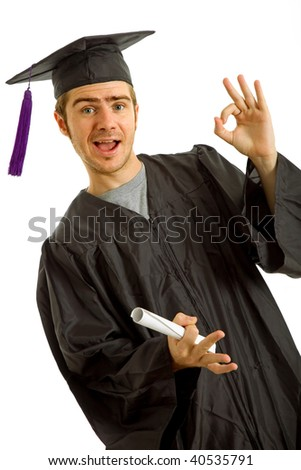 happy young man after his graduation, isolated on white