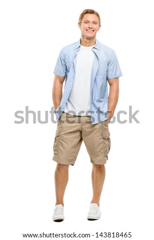 Happy young man arms folded isolated on white background - stock photo