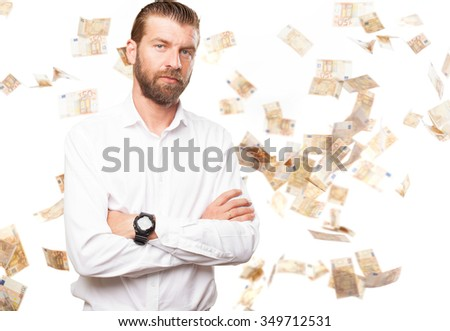happy young man cross arms - stock photo