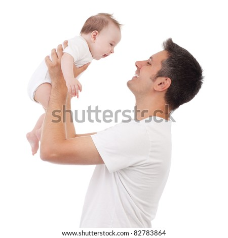 Happy young man holding a smiling 4-5 months old baby, isolated on white - stock photo
