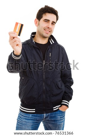 Happy Young man holding credit card, isolated on white - stock photo