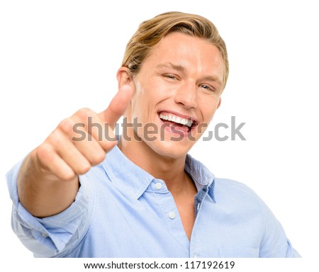 Happy young man holding thumbs up isolated on white background