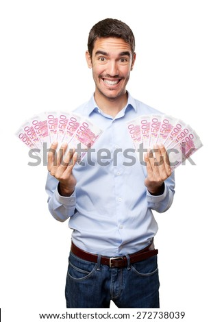Happy young man holds lots of money - stock photo