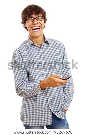 Happy young man in checked shirt and blue jeans using mobile phone. Isolated on white background, mask included - stock photo