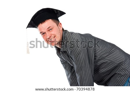 Happy young man in graduation cap isolated on white - stock photo