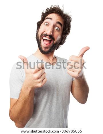 happy young man okay sign - stock photo