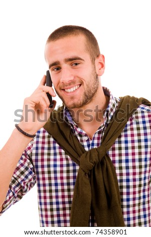 Happy young man on the phone, isolated on white - stock photo