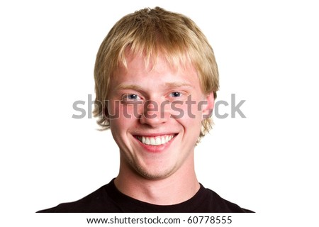 Happy young man portrait isolated on white - stock photo