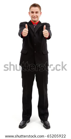 Happy young man showing double thumbs up with both hands - stock photo