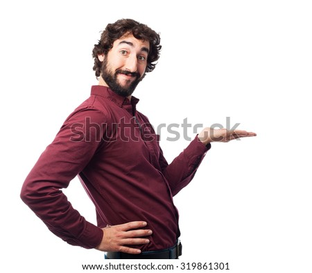 happy young man showing gesture - stock photo