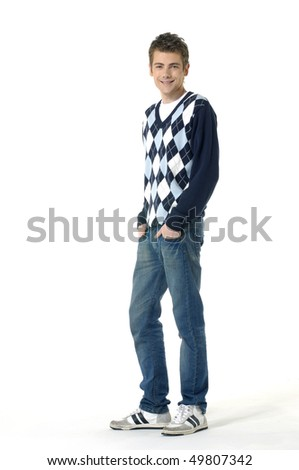 Happy young man smiling on a white isolated - stock photo