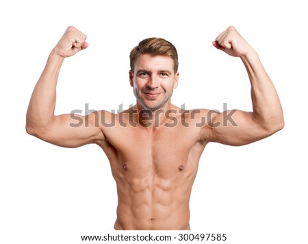 happy young man strong pose