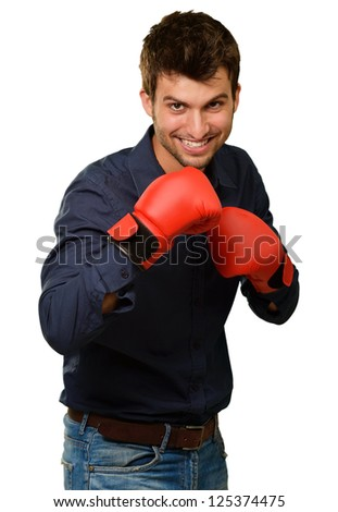 Happy Young Man Wearing Boxing Gloves On White Background - stock photo