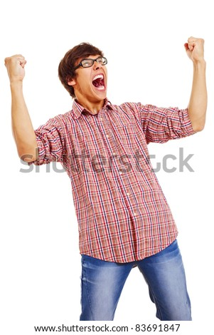 Happy young man wearing checked shirt and jeans in winning pose isolated on white background. Mask included - stock photo