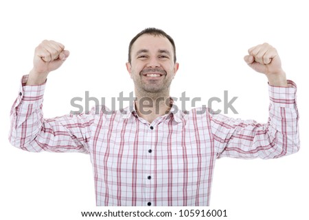 happy young man winning, isolated on white - stock photo