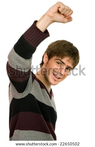 happy young man with arms isolated on white