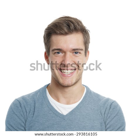 happy young man with big toothy smile isolated on white - stock photo