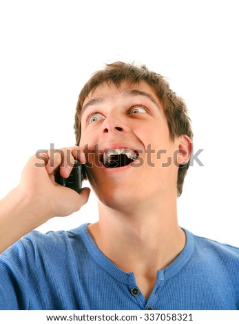 Happy Young Man with Cellphone Isolated on the White Background