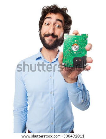 happy young man with hard drive