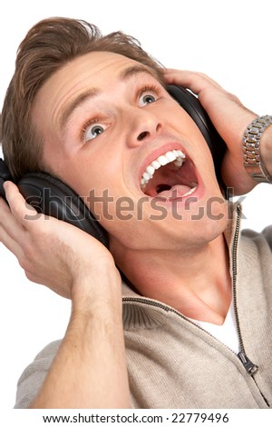 Happy young man with headset. Over white background - stock photo