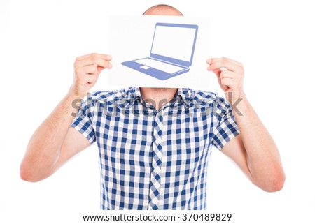 Happy young man with laptop computer sign - stock photo