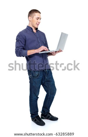 Happy young man with laptop  profile portrait - isolated on white - stock photo