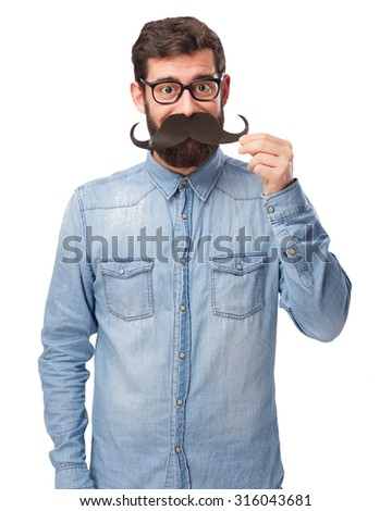 happy young man with moustache - stock photo