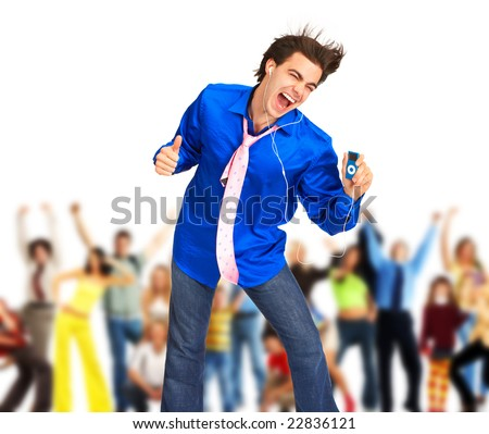 Happy young man with mp3-player. Over white background - stock photo