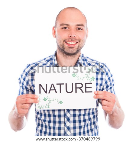 Happy young man with nature sign against the white - stock photo