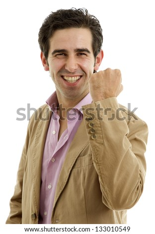 happy young man with open arms winning, isolated on white - stock photo