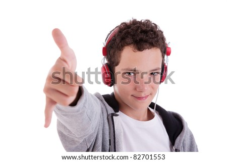 happy young man with red headphones, and thumb up, isolated on white background, studio session - stock photo