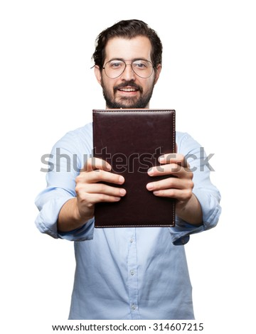 happy young man with small book