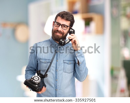 happy young man with telephone