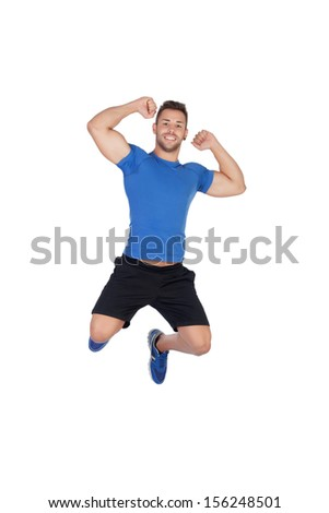 Happy young men jumping isolated on a white background - stock photo