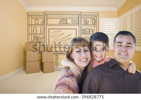 Happy Young Mixed Race Family In Room With Moving Boxes and Drawing of Entertainment Unit on Wall. - stock photo